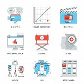 Film And Video Production Line Icons Set