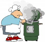 pic of smoker  - This illustration depicts a man cooking dinner on a smoker grill - JPG