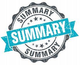 image of summary  - summary vintage turquoise seal isolated on white - JPG