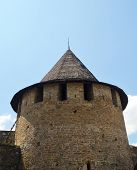 image of old stone fence  - Medieval fortress stone tower - JPG