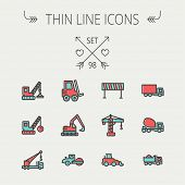 stock photo of trucks  - Construction thin line icon set for web and mobile - JPG