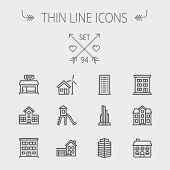 stock photo of roof-light  - Construction thin line icon set for web and mobile - JPG