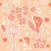 foto of pastel  - Flower or Floral and leaf pattern seamless fabric vector pastel color scheme on pastel peach background - JPG