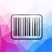 picture of barcode  - black barcode icon on colorful polygonal background - JPG