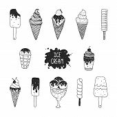 pic of ice cream sundaes  - Vector collection of hand drawn ice cream - JPG