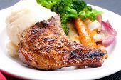 picture of pork chop  - grilled pork rib chop with mashed potato and roasted carrot - JPG