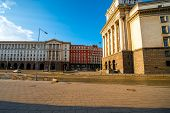 stock photo of neo-classic  - Party House in architectural ensemble of three Socialist Classicism edifices in central Sofia - JPG
