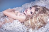 picture of nake  - Delicate sensual naked woman lying in feathers - JPG