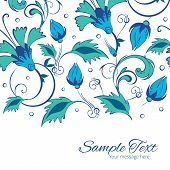 picture of swirly  - Vector blue green swirly flowers horizontal border card template graphic design - JPG