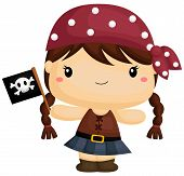 image of pirate girl  - a vector of a cute girl pirate - JPG
