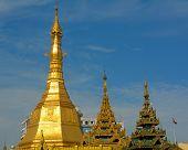 foto of yangon  - Top of golden stupa at Sule Pagoda Yangon Myanmar - JPG