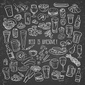 picture of drawing beer  - sketchy beer and snacks vector hand - JPG