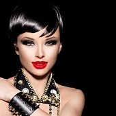 Постер, плакат: Beauty Punk Fashion Model Girl Rocker Style Brunette Model Portrait Short haircut Fringe Hairstyl