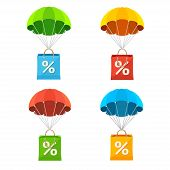 picture of parachute  - Vector illustration colorful parachute with paper bag sale icon set - JPG