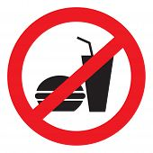 image of bans  - Round red vector banning icon muffin and a glass of water - JPG