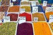 foto of arabian  - Arabian colorful spices at street market in old city of Akko Israel - JPG