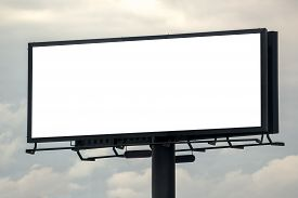 image of cloudy  - Blank Outdoor Advertising Billboard Hoarding Against Cloudy Sky White Copy Space for Mock Up Design or Marketing Message - JPG