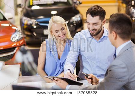 poster of auto business, sale and people concept - happy couple with dealer buying car in auto show or salon