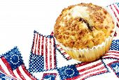 Cinnamon Muffin With Patriotic Background