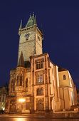 image of city hall  - Nightshot of Prague Town Hall  - JPG
