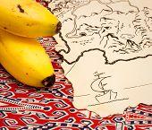 Treasure map and bananas