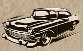 Постер, плакат: Muscle Car Abstract Vintage Sketch 1