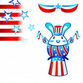 USA election rabbit with flying stars and stripes