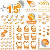 Discount sticker templates with different percentages. Great collection.
