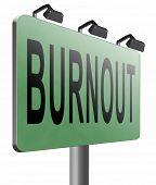 Burnout or psychological work stress. Occupational burn out or job demotivation, exhaustion, lack of poster