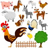 picture of farm animals  - cartoon farm animals vector - JPG