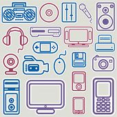 electronic icon set vector