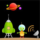 cartoon alien and space