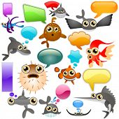 marine life cartoon character set 2