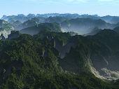 A foggy mountain scene with nice valleys