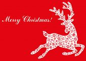 stock photo of roebuck  - Vector illustration of jumping reindeer with text Merry Christmas - JPG