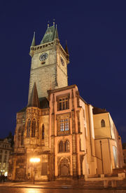 picture of city hall  - Nightshot of Prague Town Hall  - JPG
