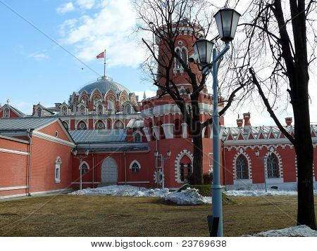 poster of Petrovski travel palace in winter day, Moscow, Russia