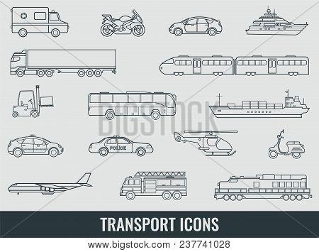 Transportation Icons Set City Cars