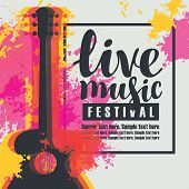 Vector Poster For A Live Music Festival Or Concert With Multicolor Acoustic Guitar On Abstract Color poster