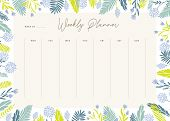 Cute Vector Weekly Planner Template. Elegant Floral Pastel Tone Organizer And Notepad. Week Calendar poster