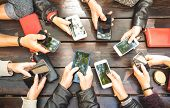People Group Having Addicted Fun Together Using Smartphones - Detail Of Hands Sharing Content On Soc poster