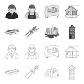 Drawing Accessories, Metropolis, House Model. Architecture Set Collection Icons In Outline, Monochro poster