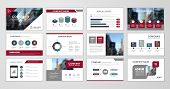 Red Abstract Presentation Slide Templates. Infographic Elements Template  Set For Web, Print, Annual poster