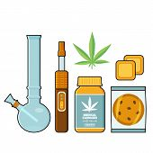 Set Of Medical Cannabis Forms - Marijuana Leaf, Pills, Patches, Cookie, Bong And Vaporizer, Flat Sty poster