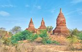 The Slender Stupas Well Compliment Beautiful Landscape Of Bagan Archaeological Park, Myanmar poster