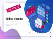 Isometric Smart Phone Online Shopping Concept. Online Store, Shopping Cart Icon. Ecommerce. poster