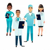 Doctors And Nurses Team. Cartoon Medical Staff. Medical Team Concept. Surgeon, Nurse And Therapist O poster