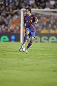 VALENCIA - OCTOBER 17 : Xavi of Barcelona FC in action at Spanish soccer league match Valencia C.F.