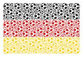 German State Flag Collage Created Of Football Ball Pictograms. Vector Football Ball Icons Are Organi poster