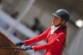 VALENCIA, Espanha - 8 de maio: Munyoz piloto, Major cavalo de Piquet, Espanha no Val de turnê Global Champions